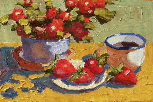 strawberries and coffee, sandi Hester, 8x10 oil