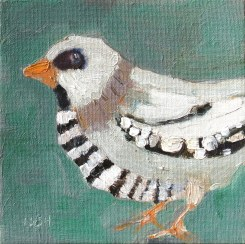 jail bird, sandi hester, 6x6 oil