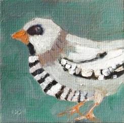 jail bird, sandi hester, 6x6 oil