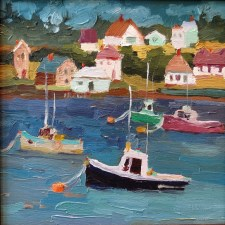 maine boats and town, sandi hester, 8x8 oil