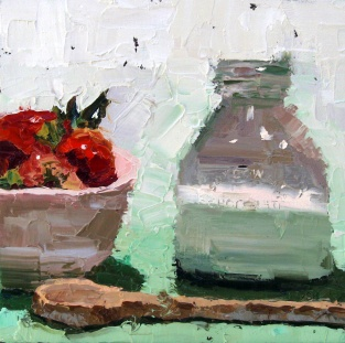 milk and strawberries, sandi hester, 8x8 oil