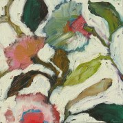 oil bar flowers white background, sandi hester, oil 6x6