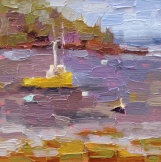 yellow boat maine, sandi hester, 6x6 oil