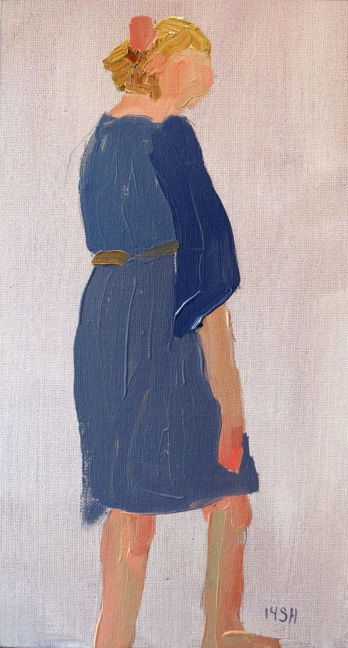 1 min blue dress, oil, sandi hester