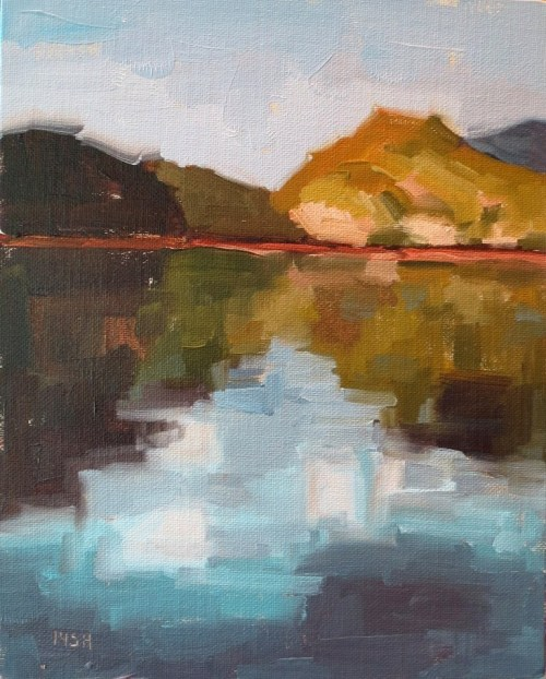 Mountain Reflections, 5x7 oil, sandi hester