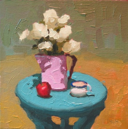 pink water pitcher, 8x8 oil, sandi hester