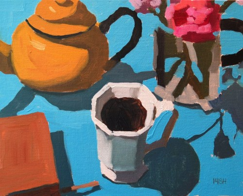 Tea time, 11x14 oil, sandi hester